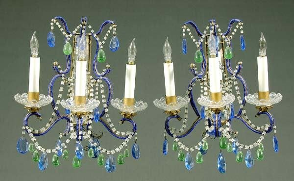 17: Pair Italian glass three-cup sconces:
