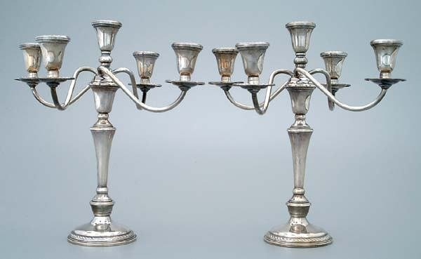 19: Pair sterling silver candelabra: