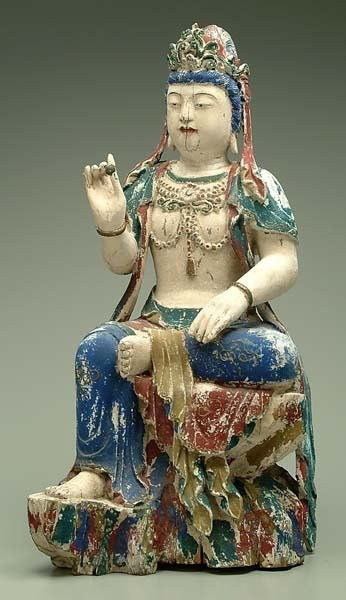 175: Chinese wood polychrome Quan Yin,