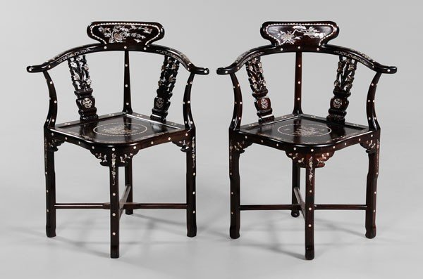 2: Pair Inlaid Hardwood Corner Chairs