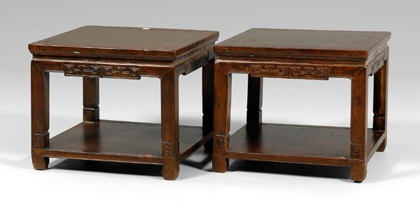5: Pair Hardwood Side Tables: