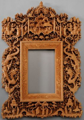 Finely Carved Wood Picture Frame