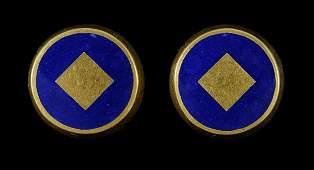 606: Pair Gold and Enamel Earrings