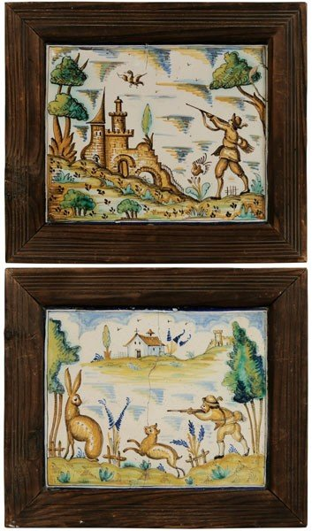 7: Two Delft Hunting Tiles