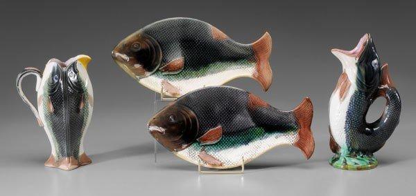 8: Majolica Fish Pitchers, Plates