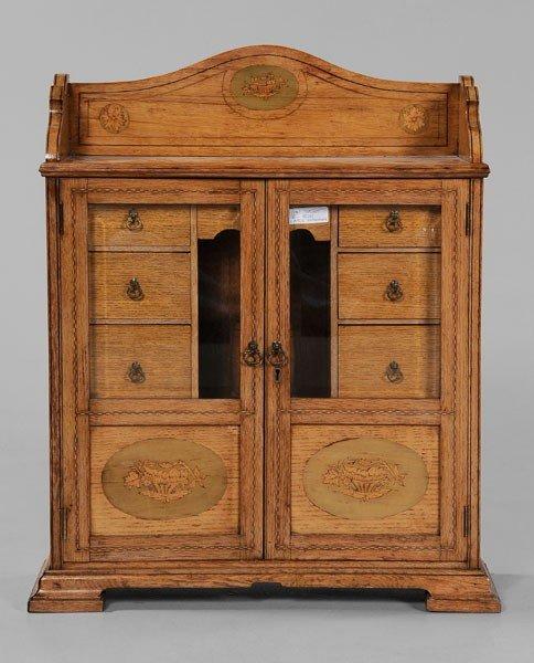 21: Edwardian Inlaid Oak Smoking Cabinet