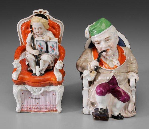 24: Two Porcelain Lidded Tobacco Jars