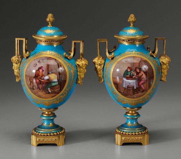 586: Pair Sèvres Lidded Urns