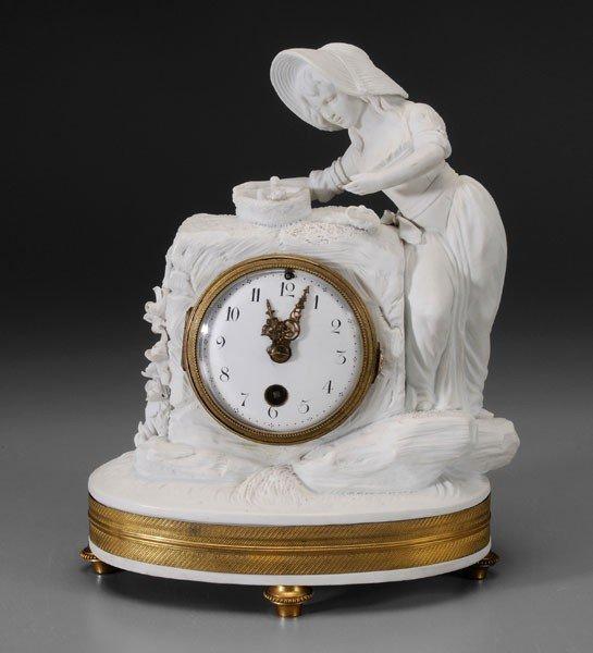 587: Sèvres Style Parian Ware Shelf Clock