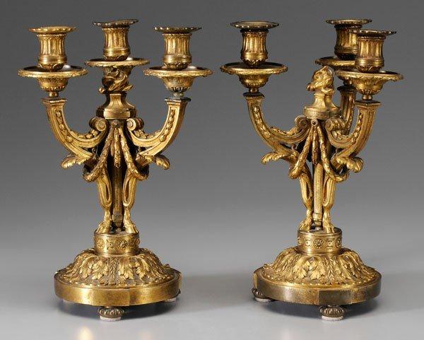 590: Pair Louis XVI Gilt Bronze Candelabra