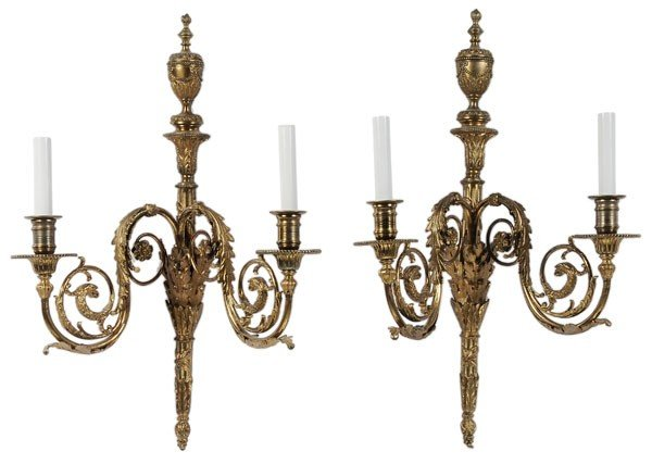 591: Pair Louis XVI Style Brass Sconces