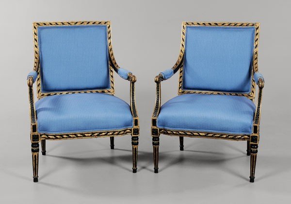 592: Pair Louis XVI Style Parcel Gilt
