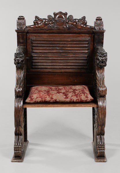 593: Baroque Style Carved Walnut Armchair
