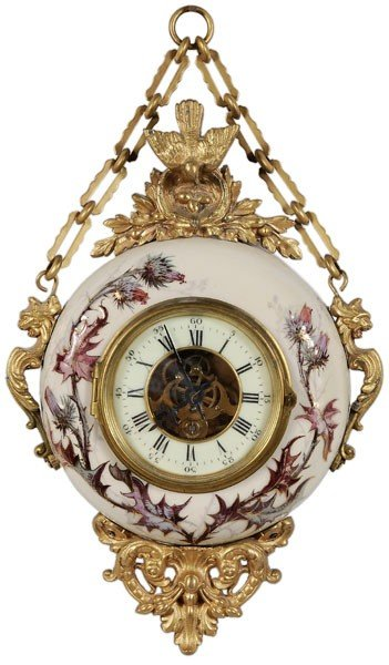 595: French Porcelain Wall Clock