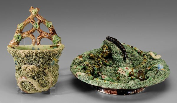 598: Two Pieces Palissy Style Majolica