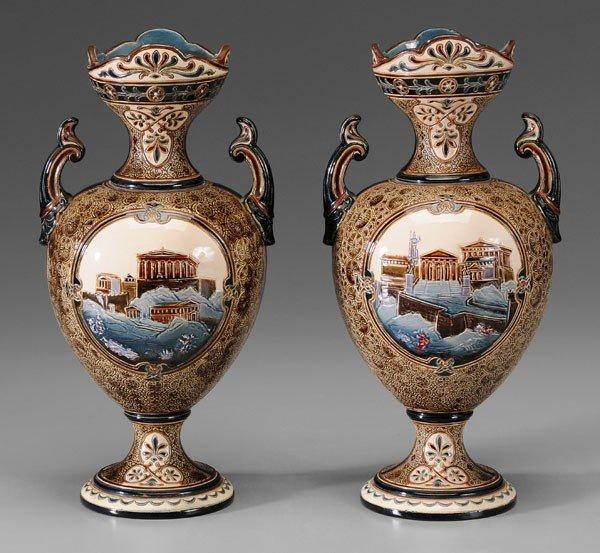 599: Pair French Majolica Vases