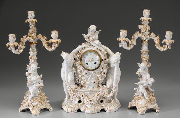 604: Tiffany Porcelain Clock and Garniture