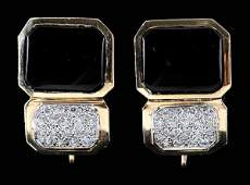 884: Pair Diamond and Onyx Earrings