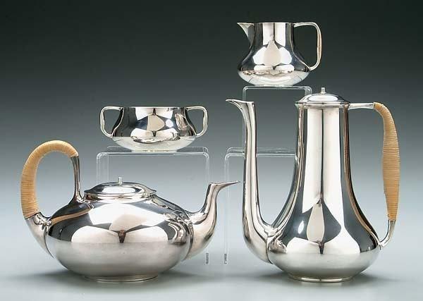 589: Danish four-piece silver tea service: