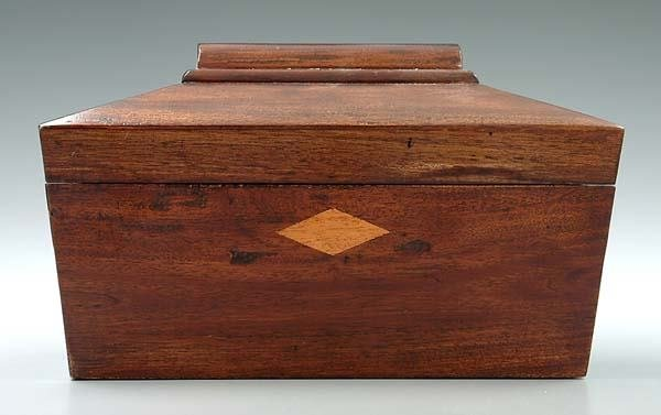 23: Sarcophagus-form mahogany tea box,