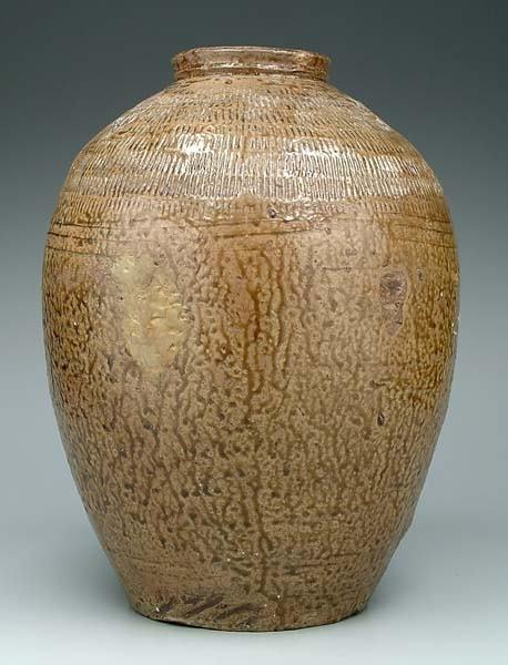 19: Large ovoid pottery jar,