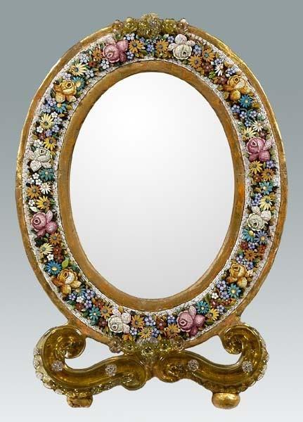 17: Micro mosaic framed mirror,