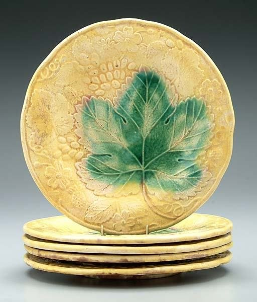 4: Five majolica plates: