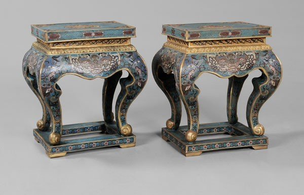 13: Pair Cloisonné Stands