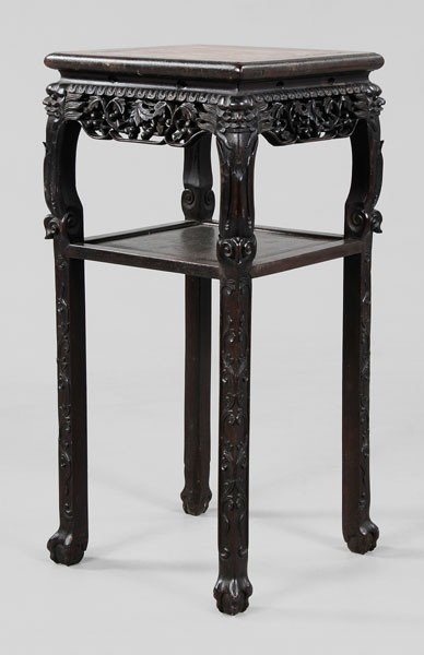 18: Carved Rosewood Marble-Top Tabouret