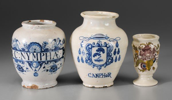 646: Three Delft Apothecary Jars