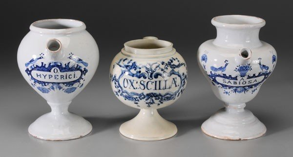 647: Three Delft Apothecary Vessels