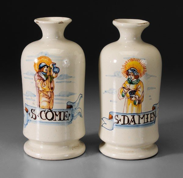 649: Two Faience Apothecary Jars