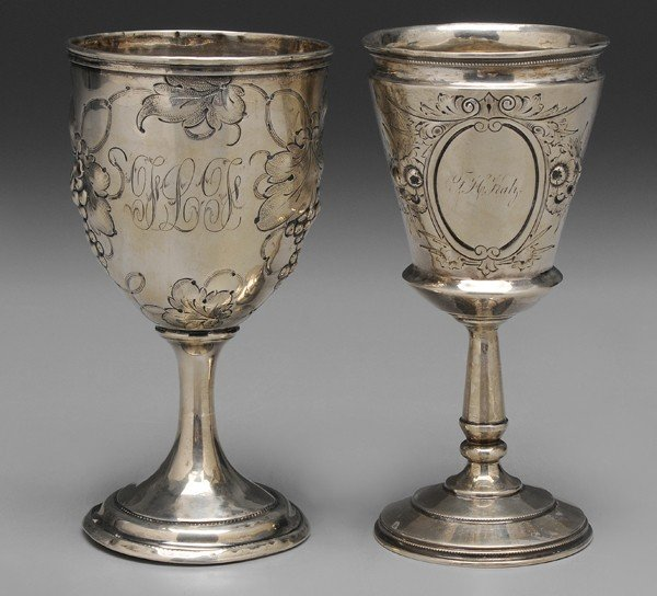 390: Two American Coin Silver Goblets