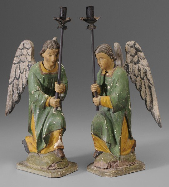 756: Pair Carved Angel Taper Stands