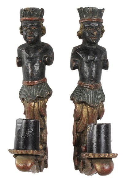 758: Pair Allegorical Wall Sconces