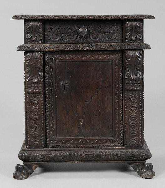 760: Baroque Carved Walnut Side Cabinet