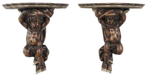 765: Pair Baroque Style Cherub Brackets