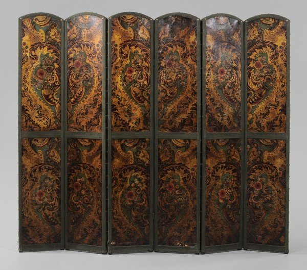 767: Painted Leather Six-Panel Room Screen