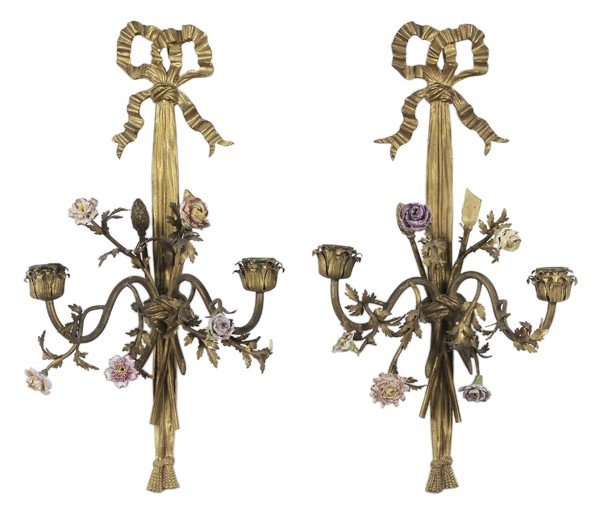 775: Fine Pair Louis XVI Style Gilt Bronze
