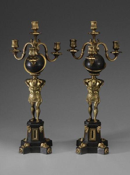 862: Pair Cast Brass Candelabra