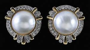 1279 Mab Pearl Diamond Earrings