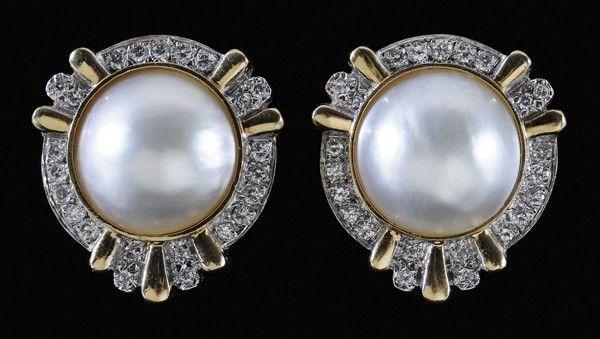 1279: Mabé Pearl, Diamond Earrings