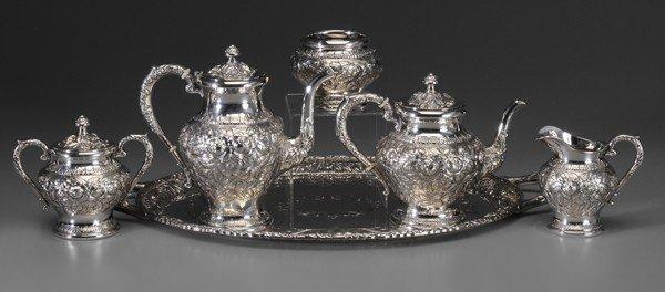 1349: Kirk Repoussé Sterling Tea Service,