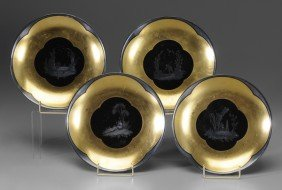 Four Silvered And Gilt Porcelain