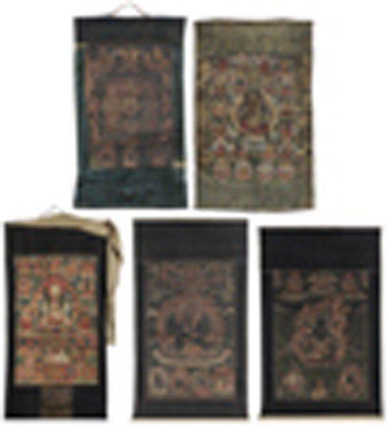 272: Five Tibetan Buddhist [Thangka]