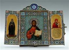 17: Russian silver enamel icon triptych,