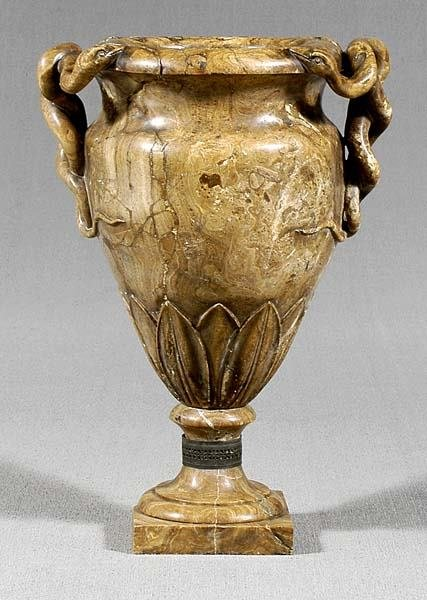 40: Two-piece marble urn,
