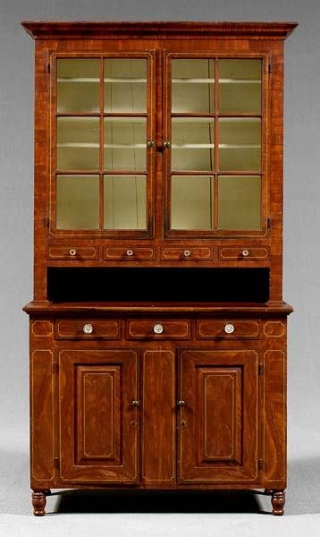 127: Two-piece pine step cupboard,
