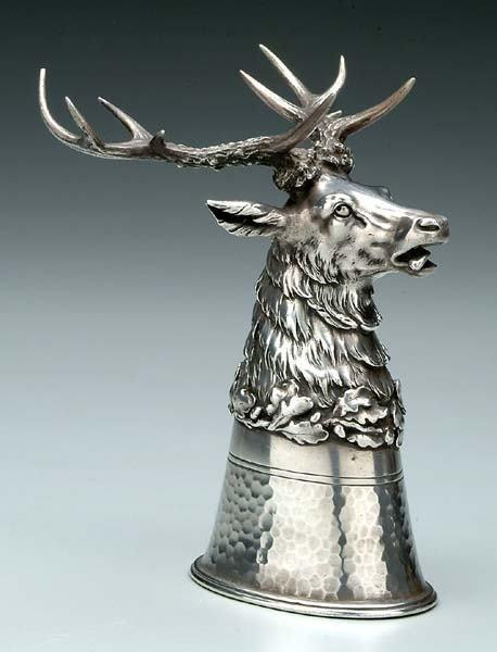 226: German silver stag head stirrup cup,