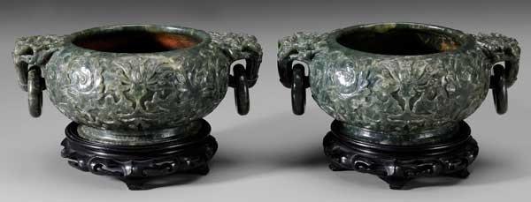 11: Pair Carved Jade Bowls